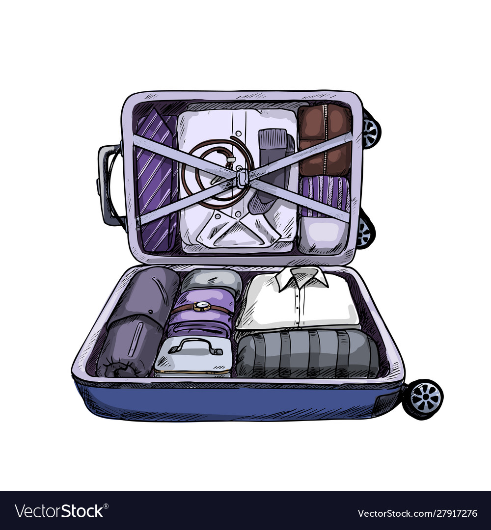 Neat opened business suitcase ready to journey
