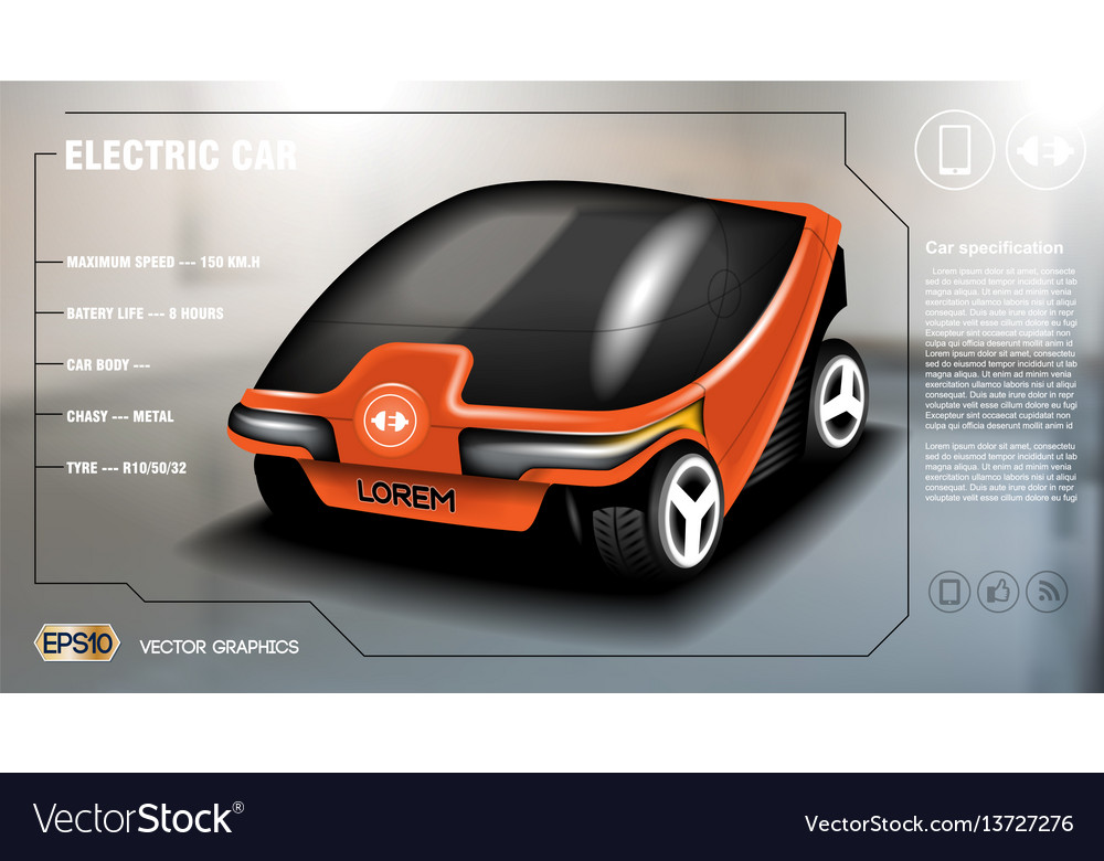 Realistic 3d electric car infographic concept