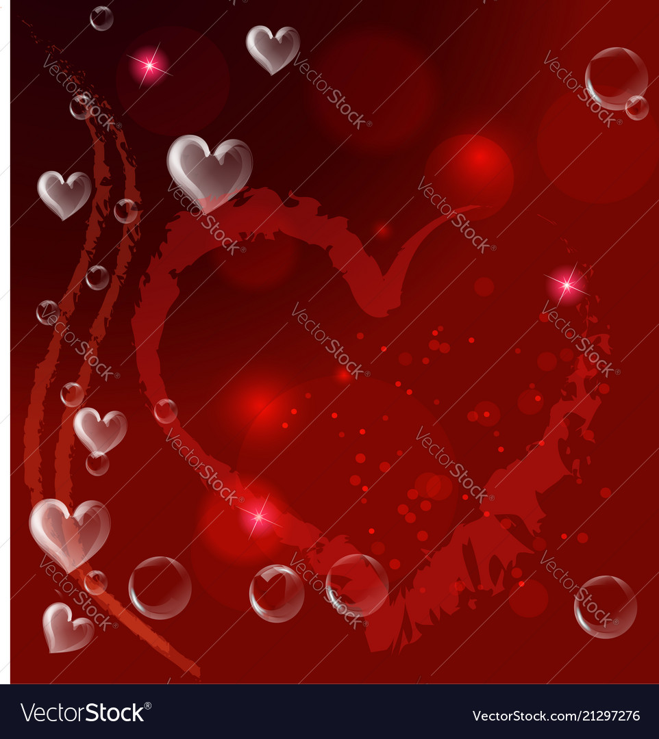 Red heart bubbles valentines card background