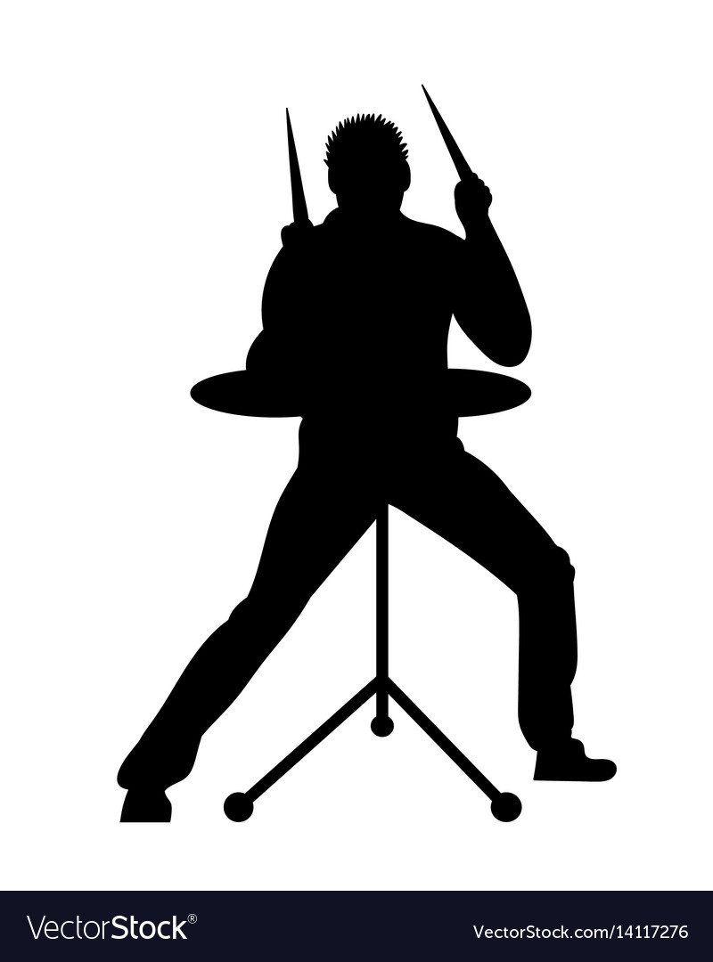 Silhouettes of musicians with drum system