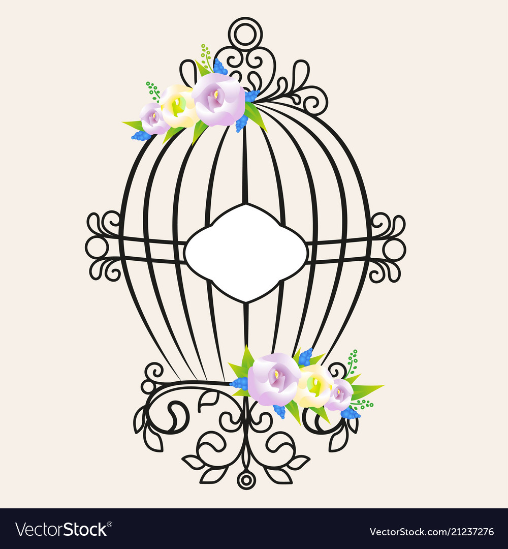 Vintage bird cage decorated with flowers