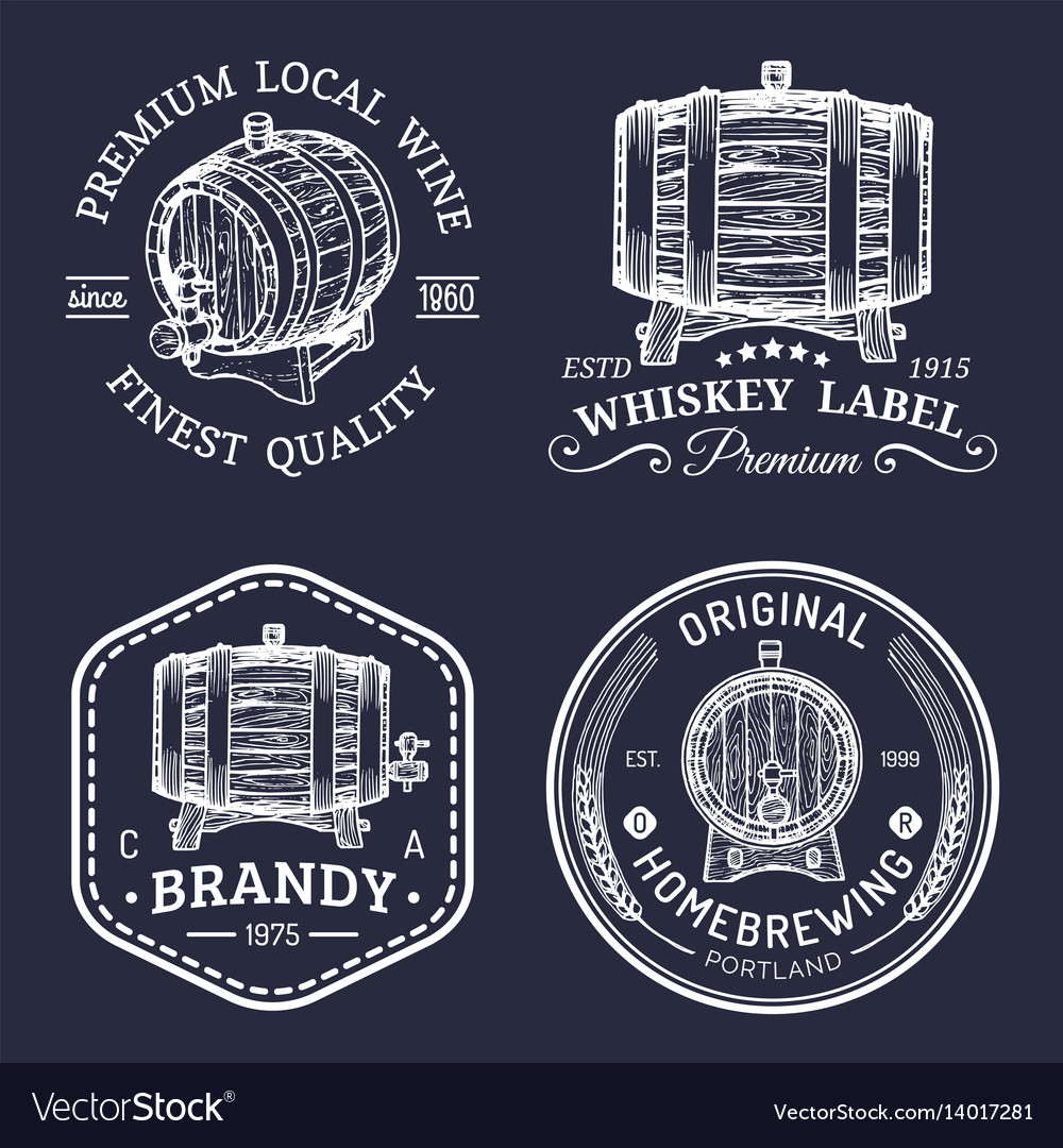 Alcohol logoswooden barrels set with drinks signs