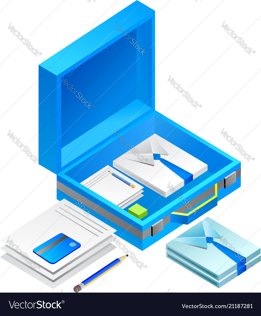Bag with office equipment isolated on