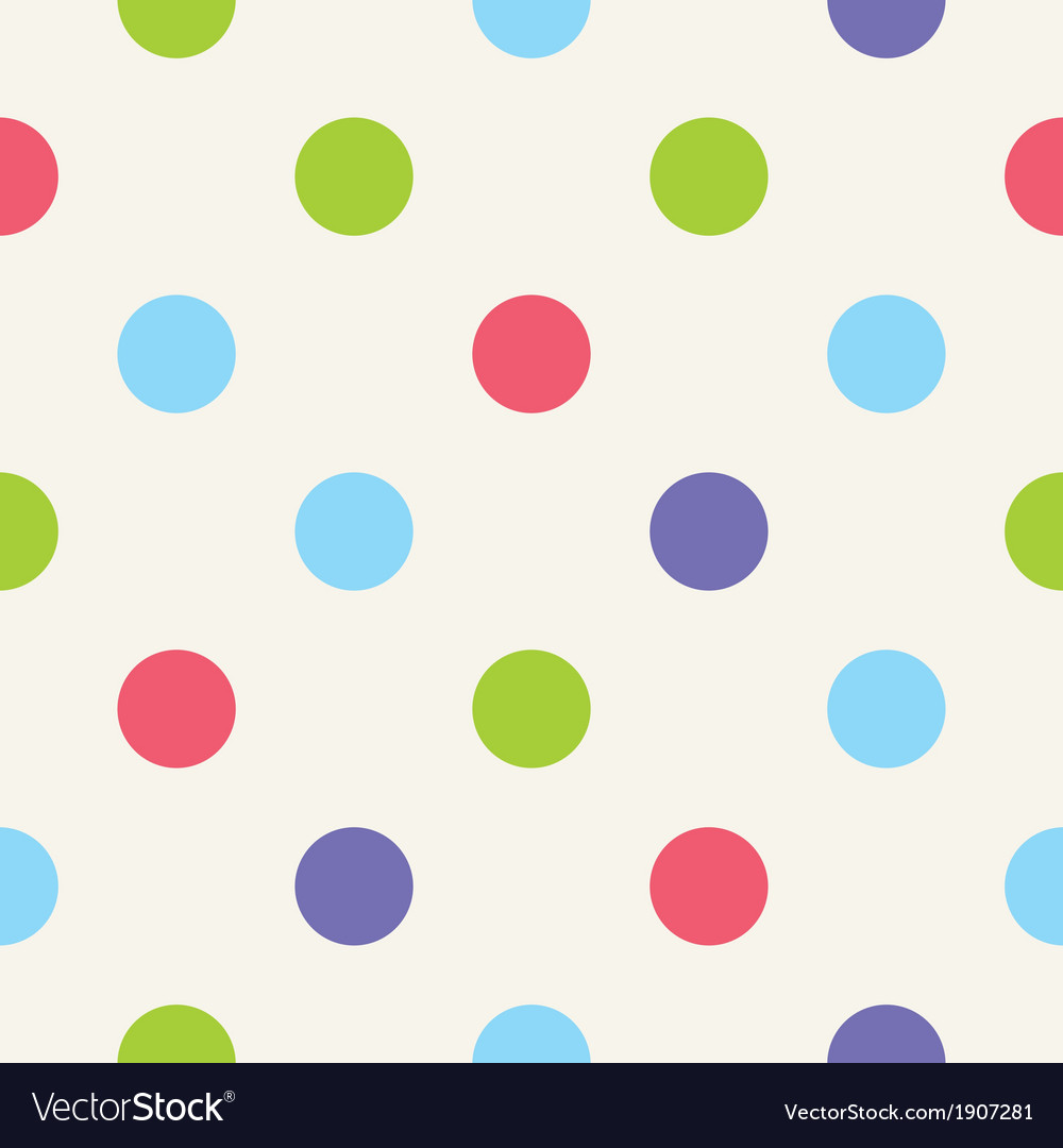 Blue pink green polka dots seamless background