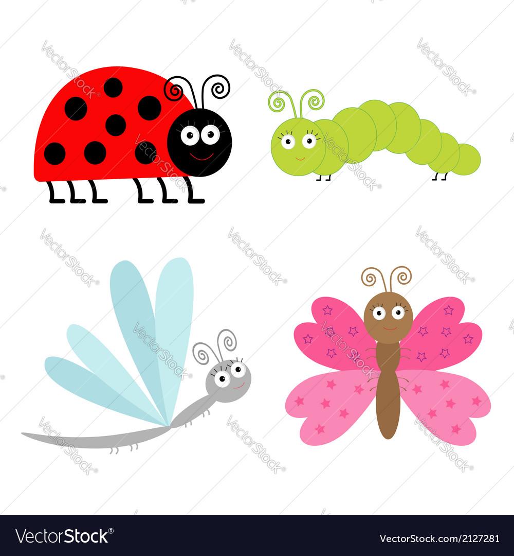 Cute cartoon insect set Ladybug butterfl
