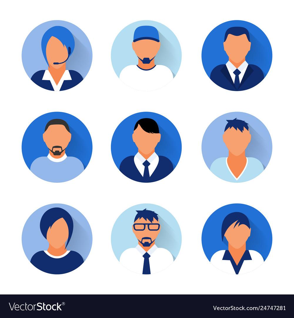 Flat modern blue minimal avatar icons business