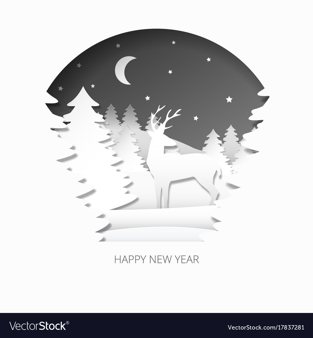 Happy new year 3d abstract paper cut illlustration