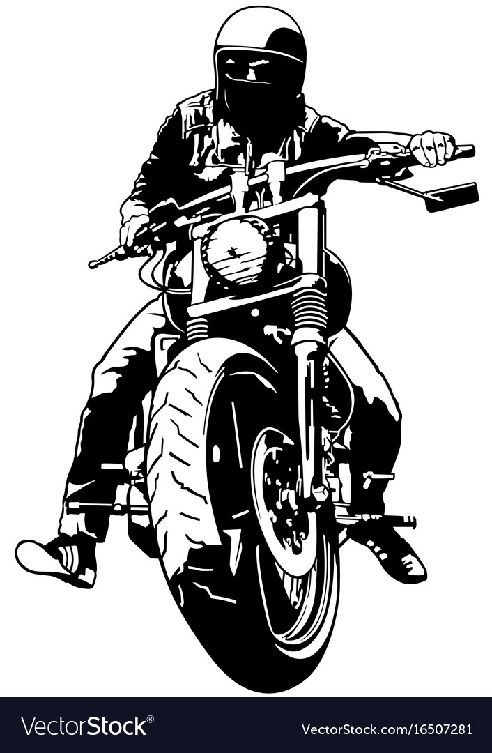 Harley davidson and rider Royalty Free Vector Image