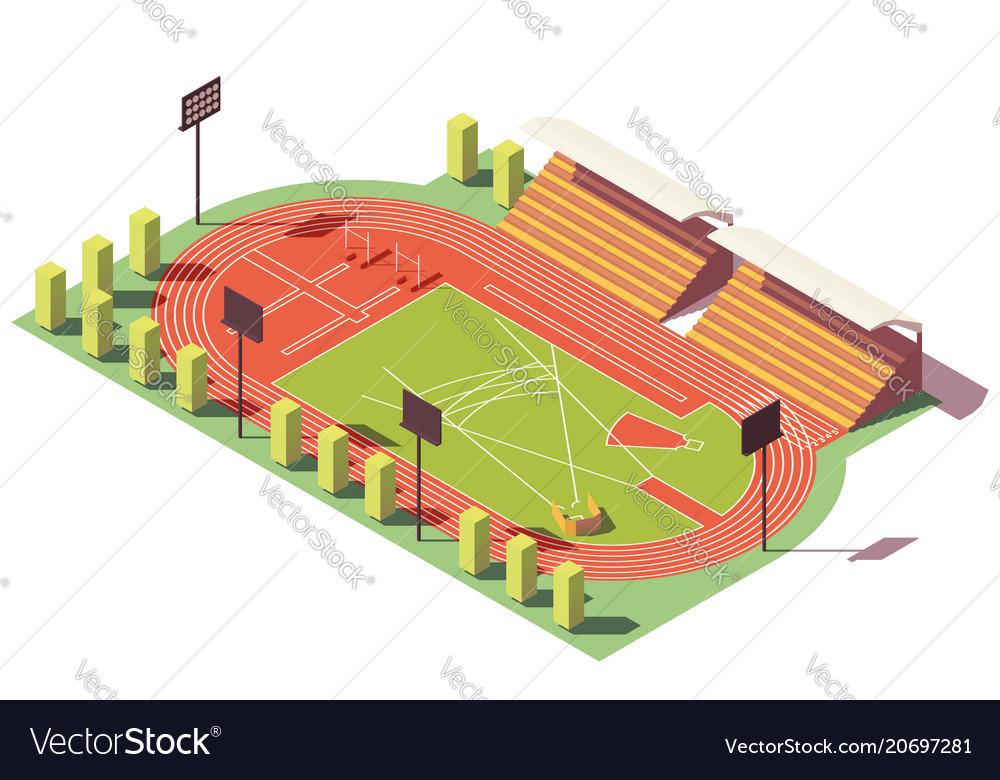 Isometric low poly athletics stadium