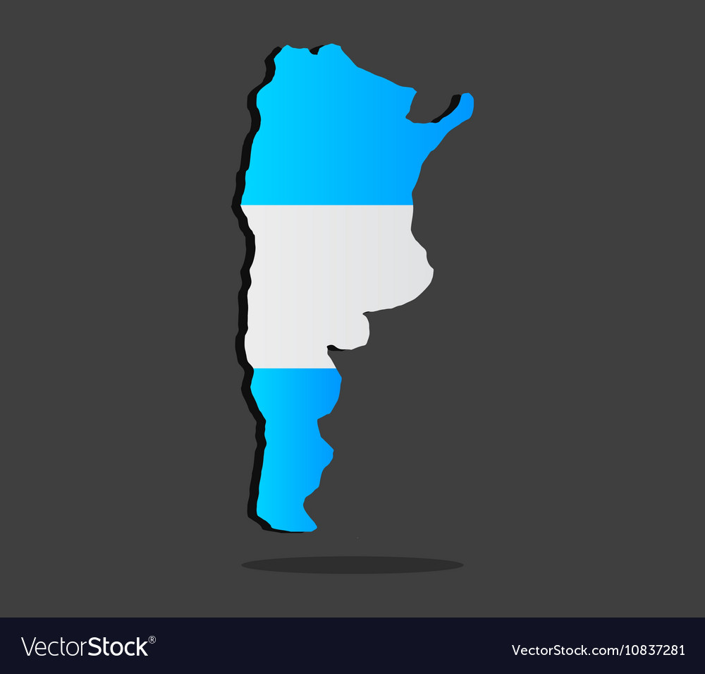 Map of Argentina with flag vector image