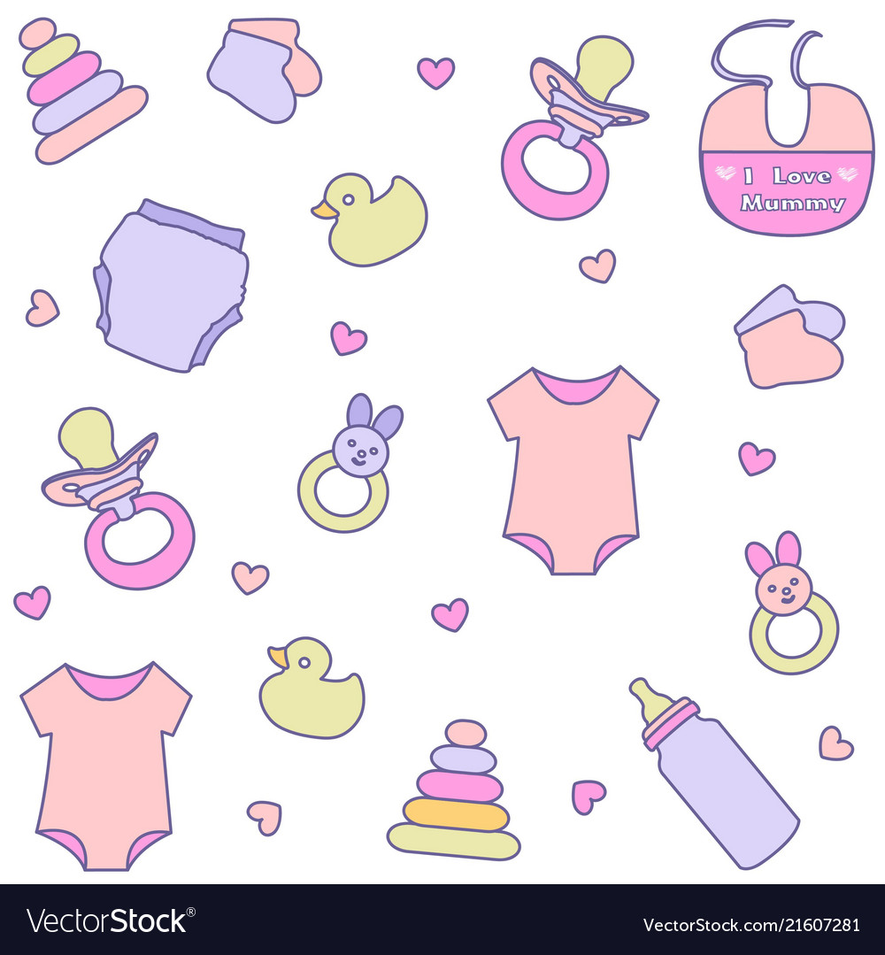 Seamless pattern with baby girl items