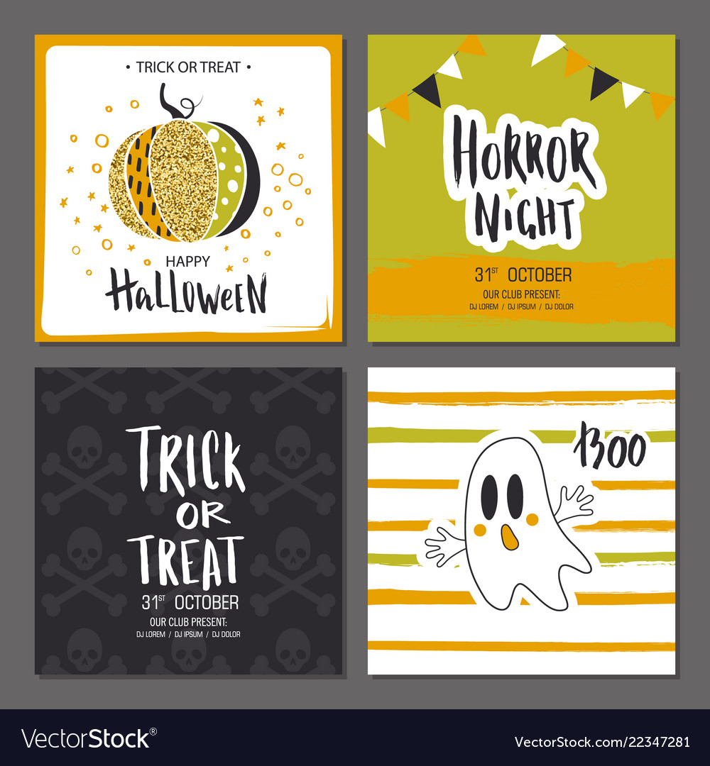 Set of halloween hand drawn greeting card with