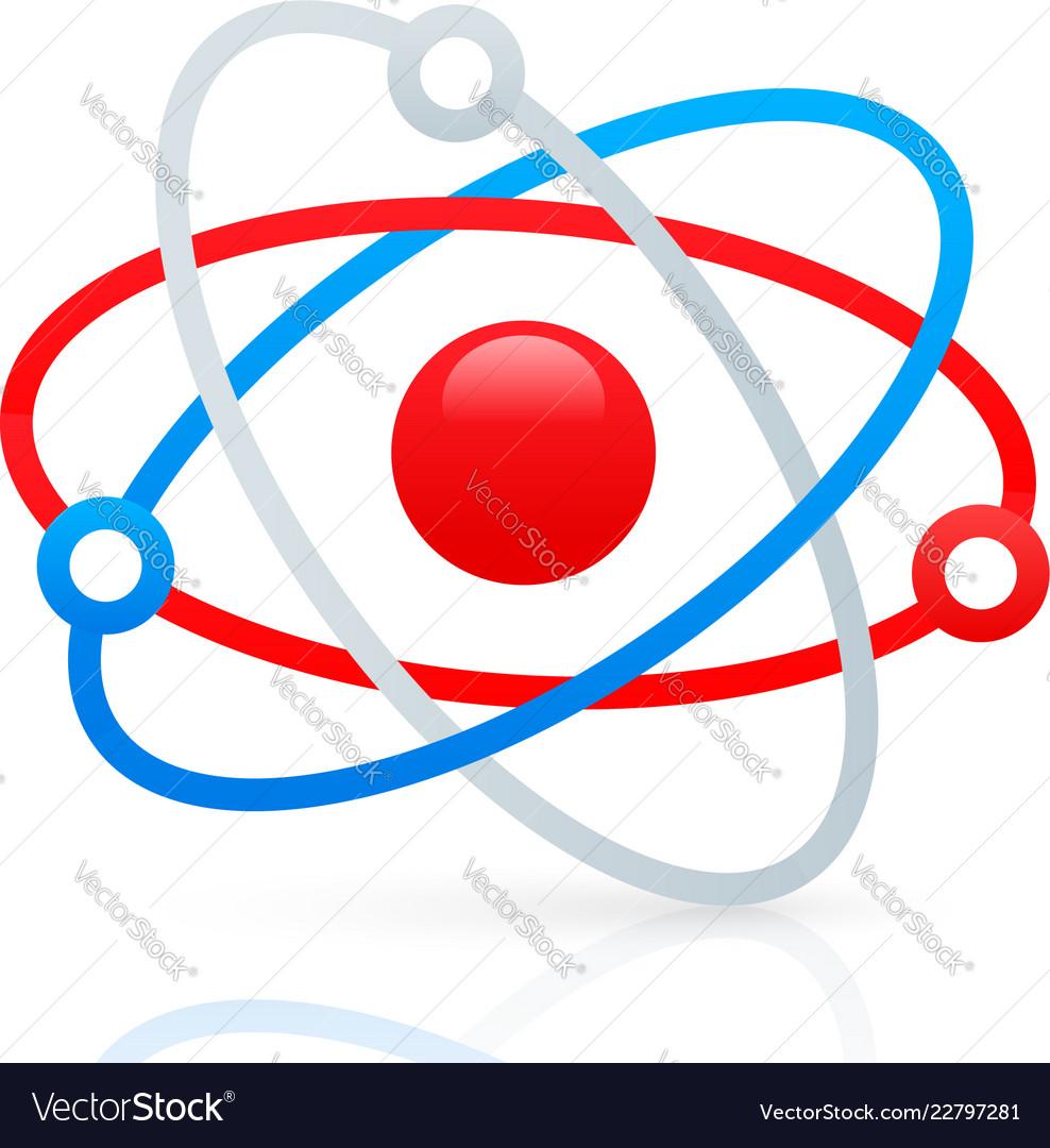 Tricolor molecule symbol w reflection