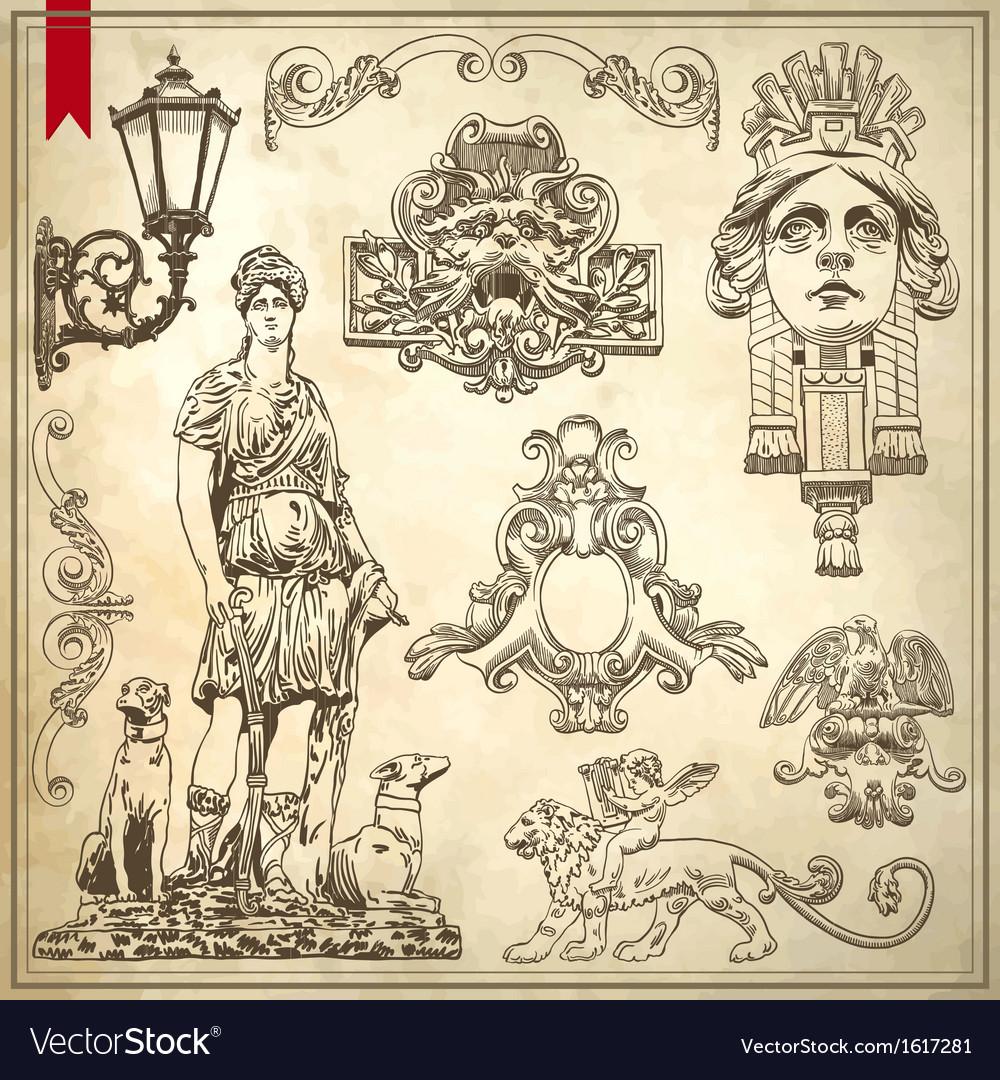 Vintage sketch ornamental design element vector image