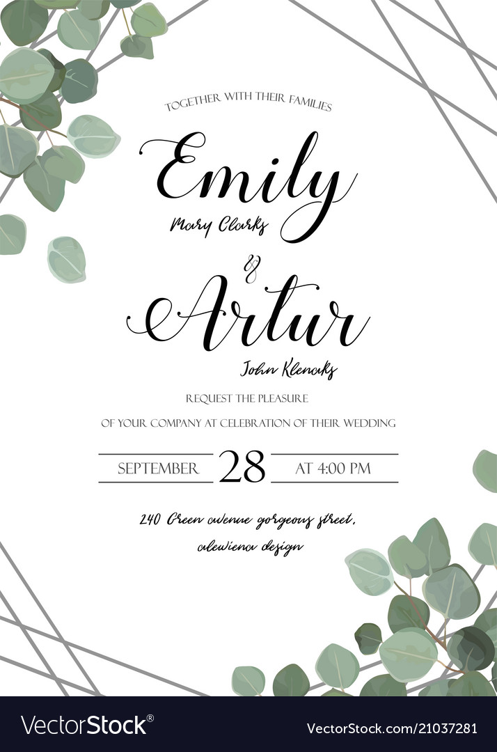 Wedding floral watercolor invite with eucalyptus