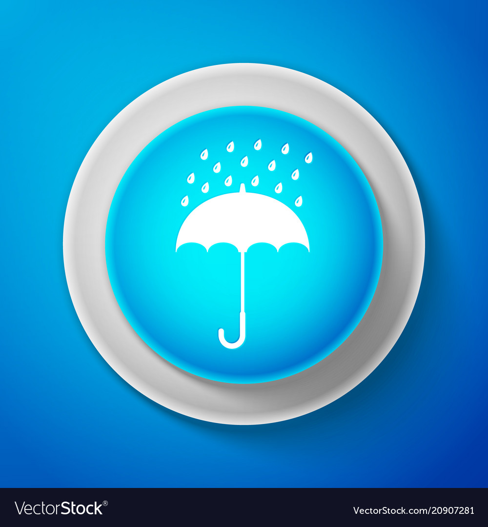 White umbrella and rain drops icon isolated