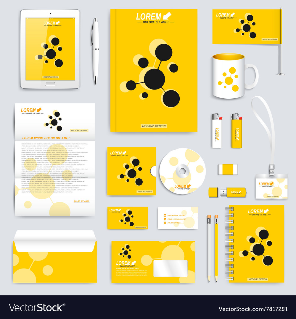 Yellow set of corporate identity template