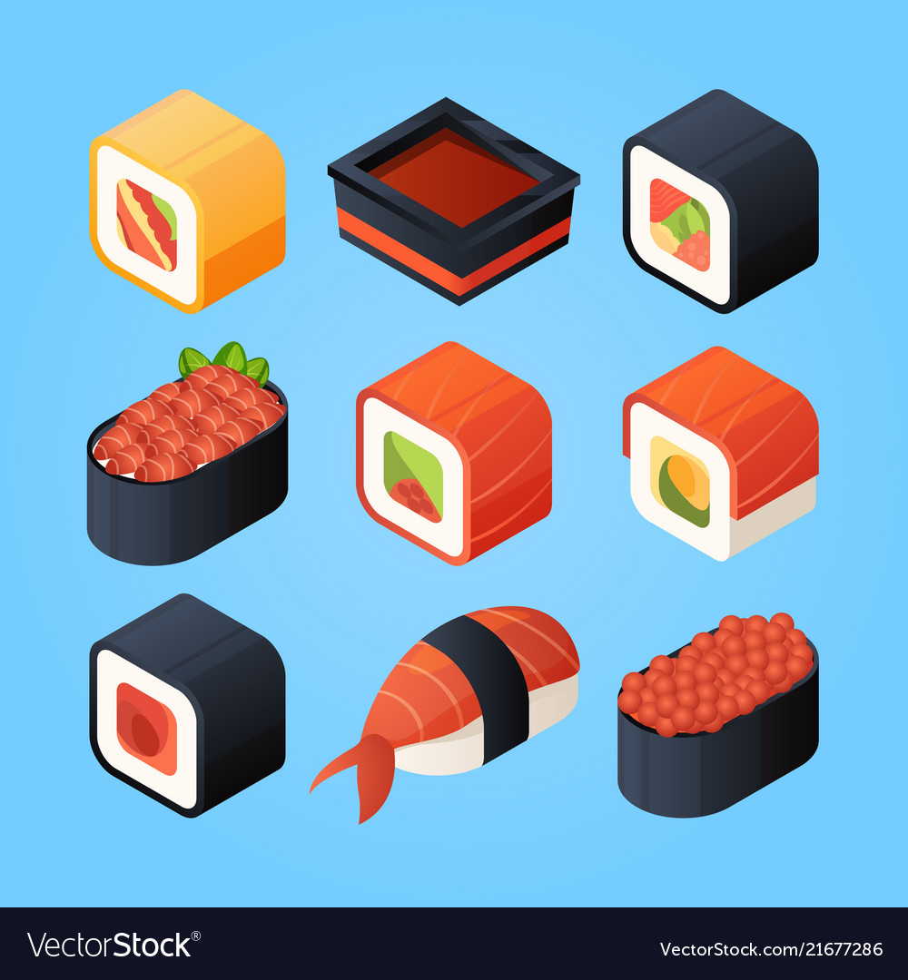 Asian isometric food sushi rolls and other japan