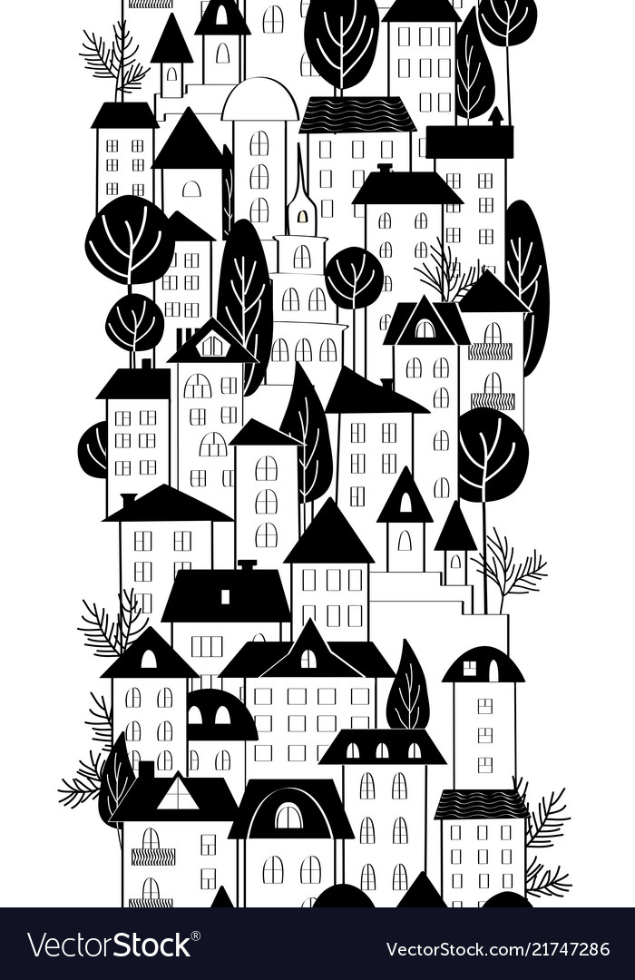 Cartoon hand drawing town houses and trees