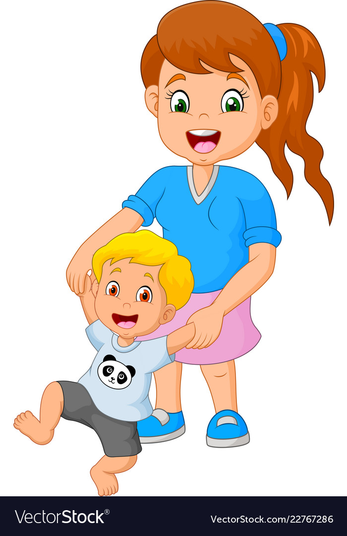 Cartoon mother teaches the child to walk