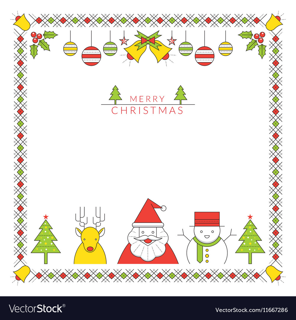 Christmas Character Line Style and Ornament Frame