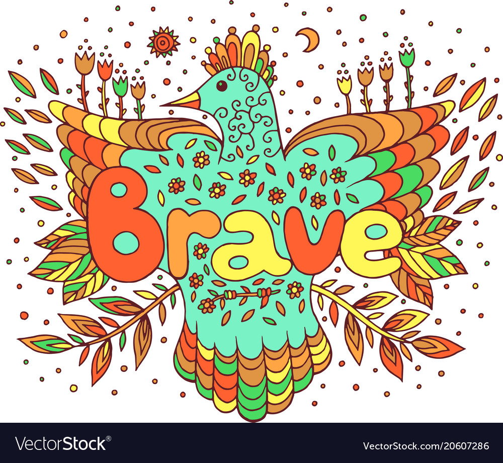 Doodle Art With Mandala And Brave Word Lettering Vector Image