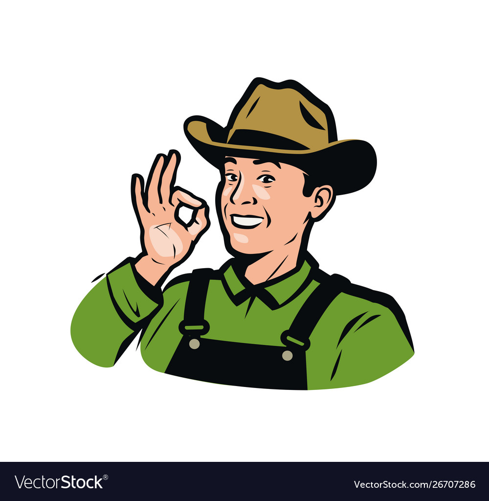 Funny farmer in hat farm product logo