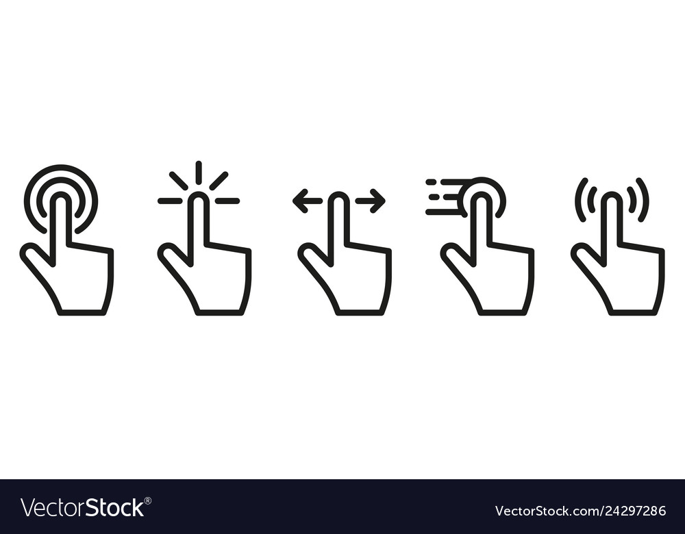 Hand click touch icons set