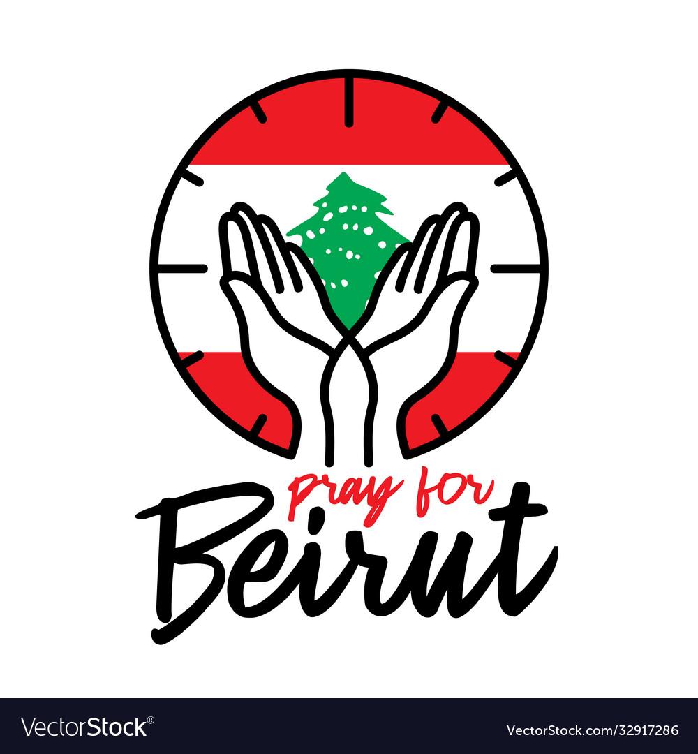 Pray for beirut on white background concept