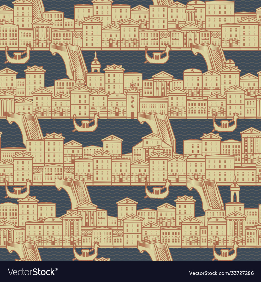 Seamless pattern with old houses and gondolas