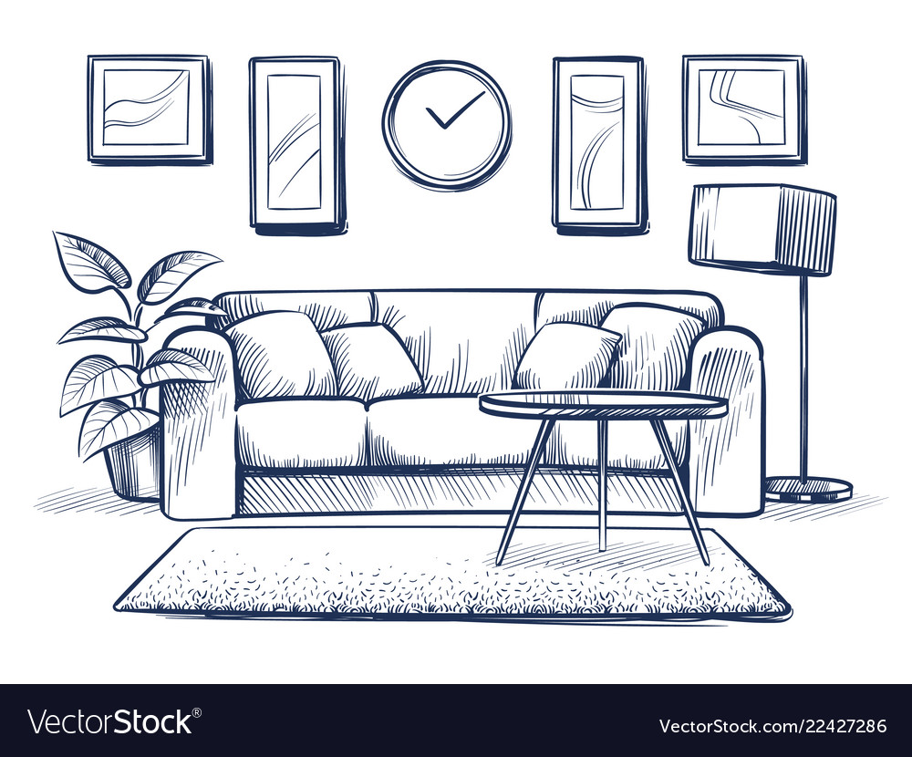Sketch interior doodle living room with sofa Vector Image
