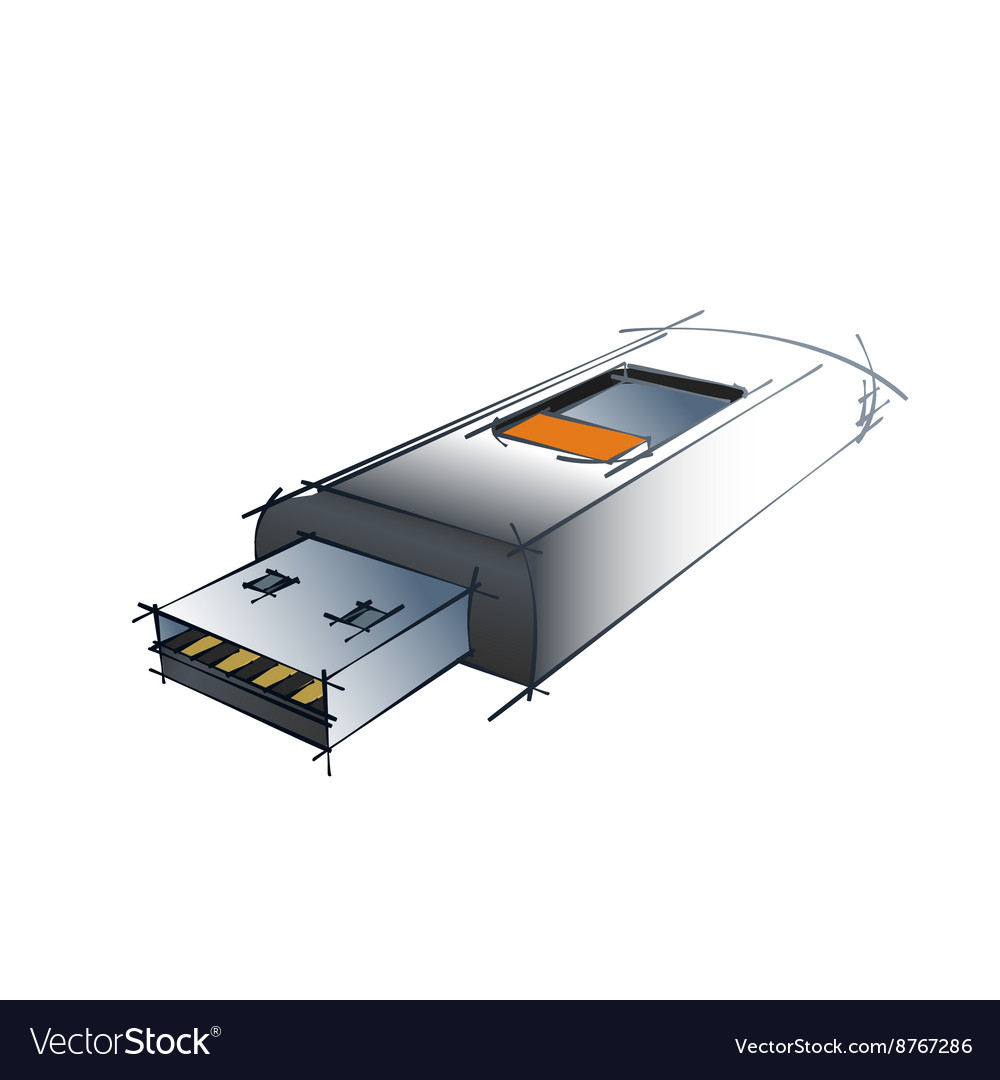 Technical Drawing Of USB vector image
