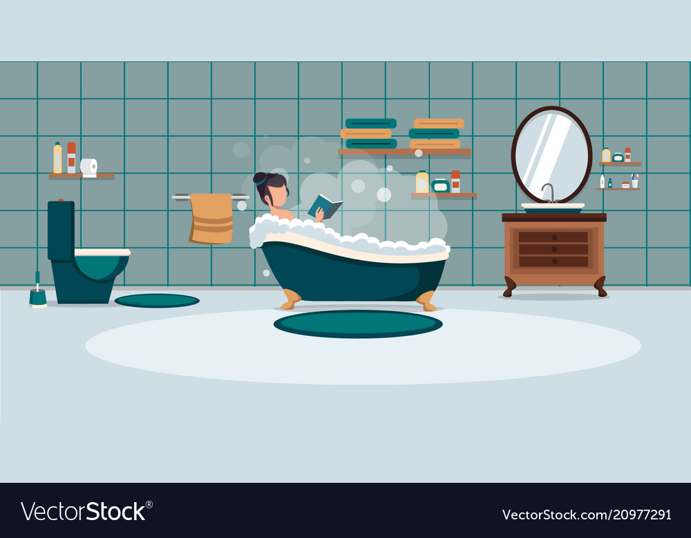 A woman washes in the bathroom with foam bathroom