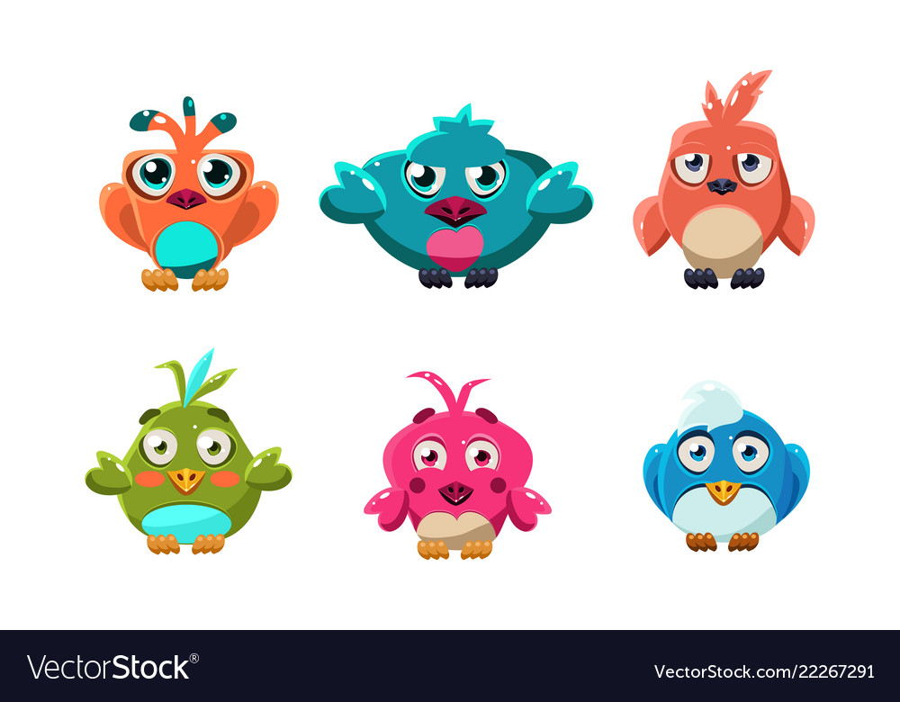 Cute little birds set funny colorful cartoon