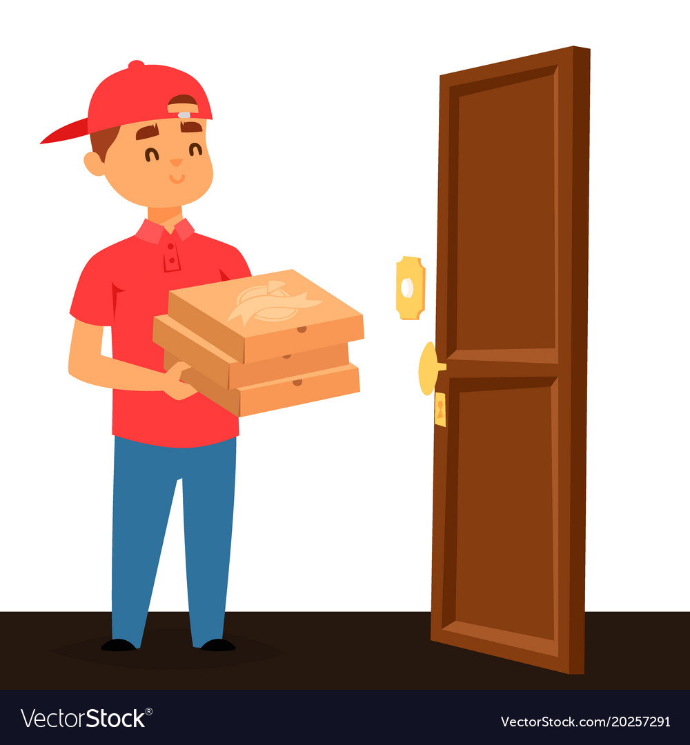 Delivery pizza man boy service workers and vector image