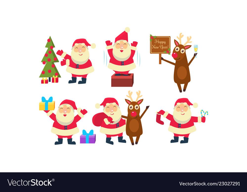 Flat set santa claus in different