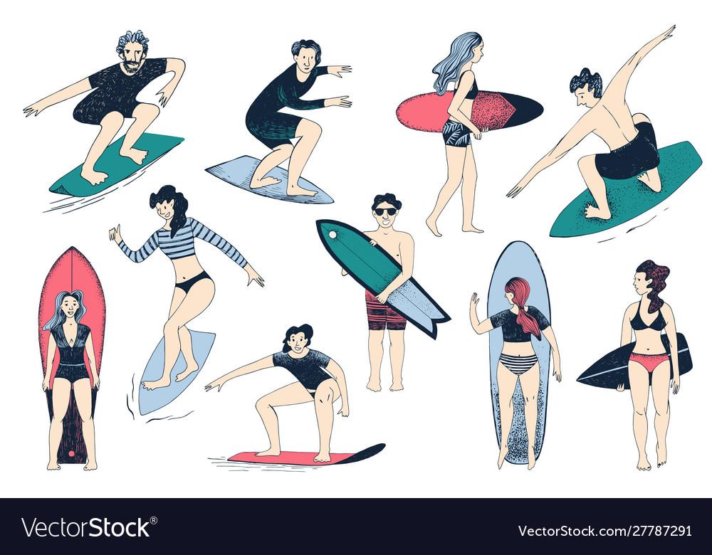 Hand drawn surfers set men and women surfing