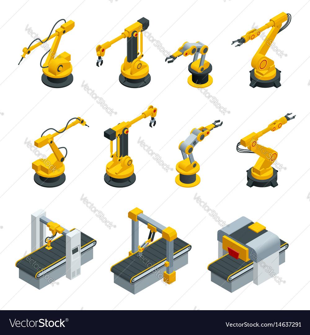 Isometric set of robotic hand machine tool at vector image