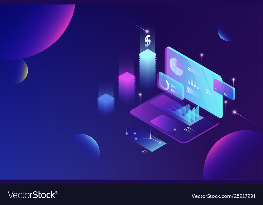 Online financial data analysis isometric concept