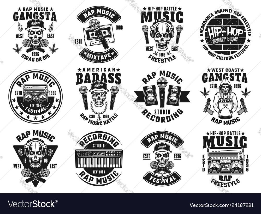 Rap and hip-hop set of twelve black emblems