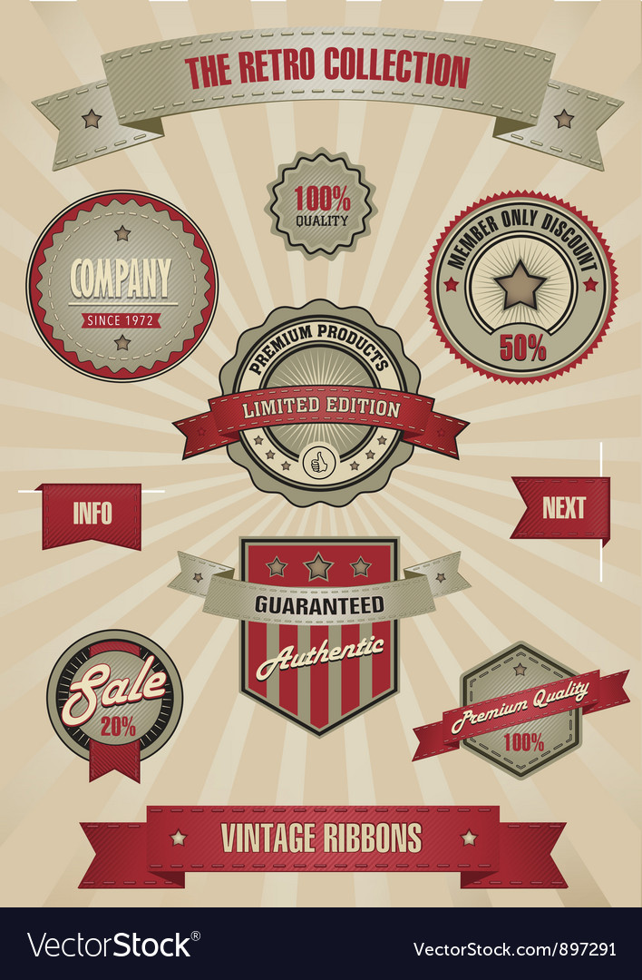Retro design set elements vector image