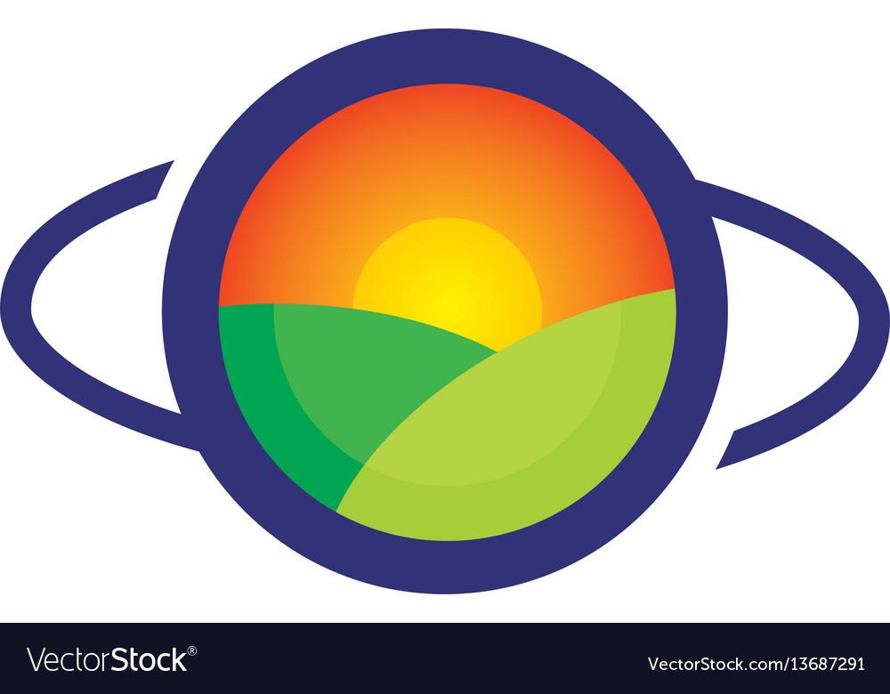 Sunset eyecare logo vector image