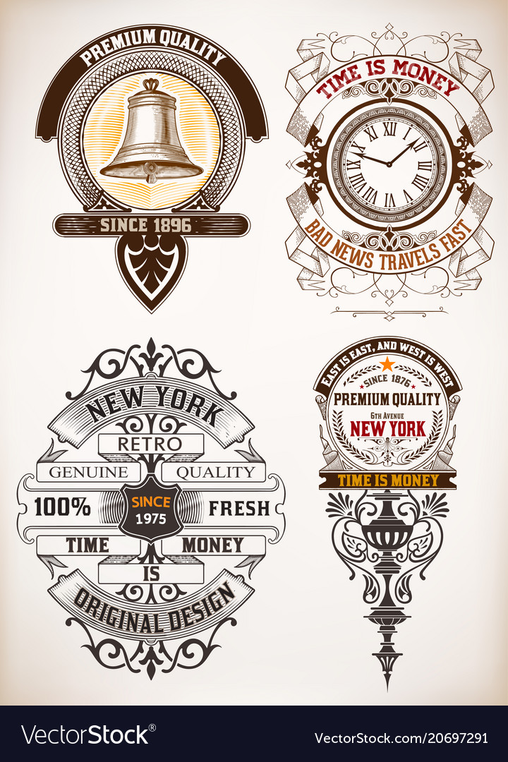 Vintage logo templates hotel restaurant