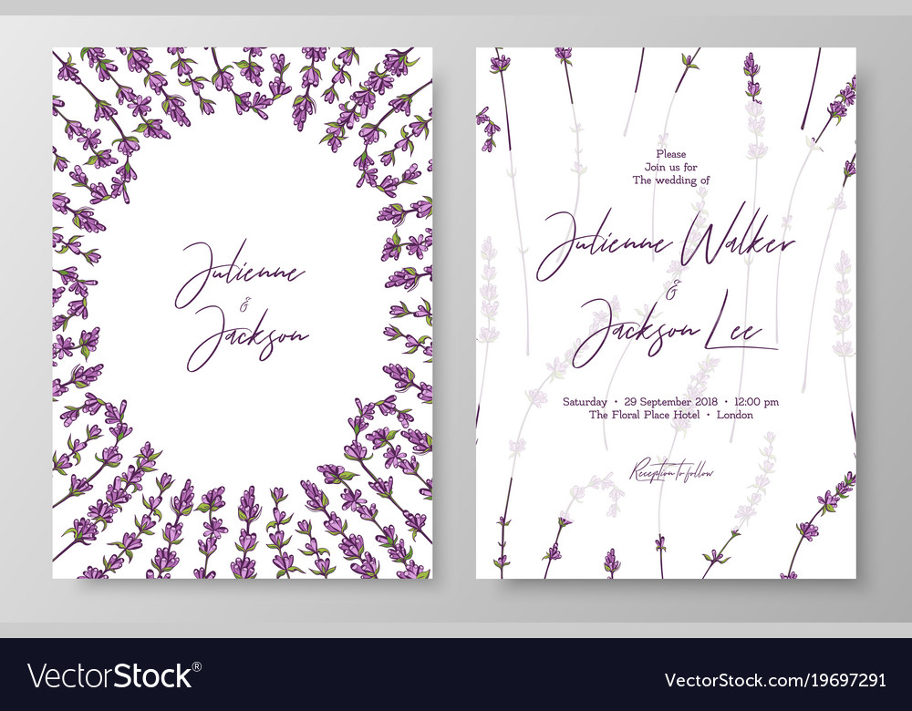 Wedding Invitation With Lavenders Cards Templates
