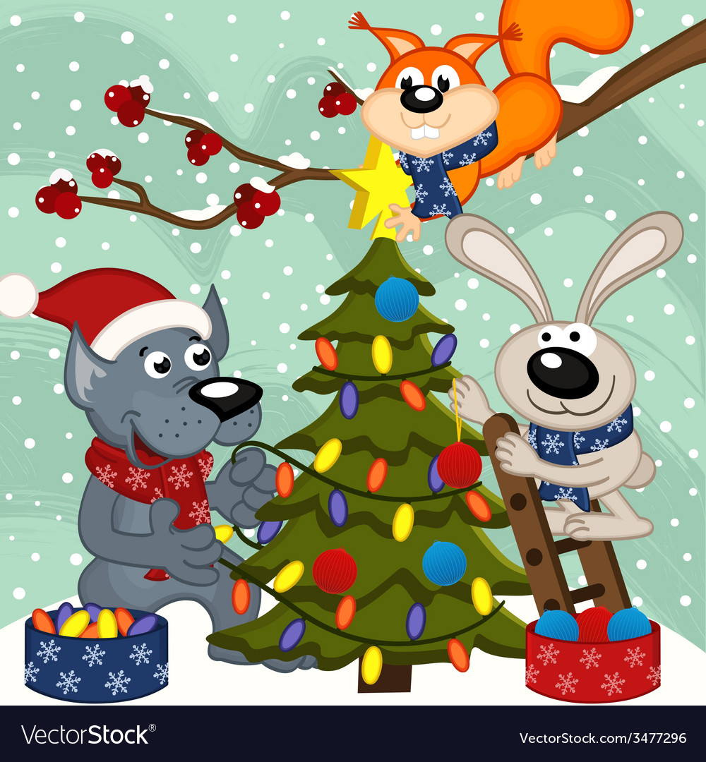 Animals decorating Christmas tree
