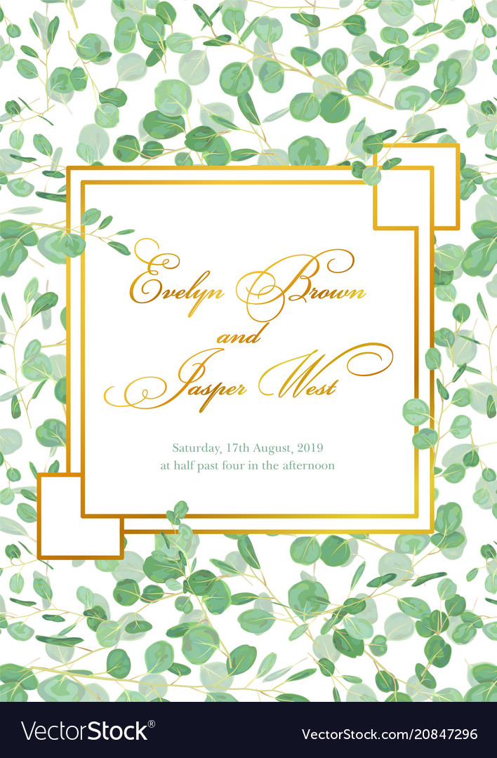 Beautiful Rustic Wedding Invitation Card With Vector Image