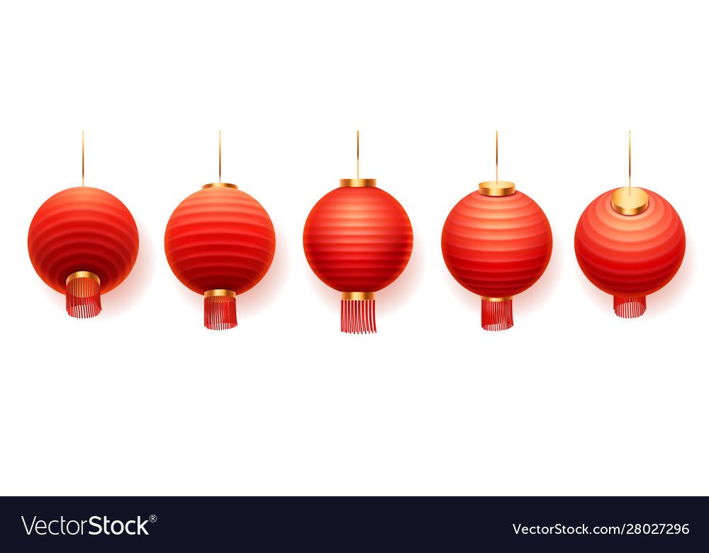 Chinese red lanterns asian new year paper lights