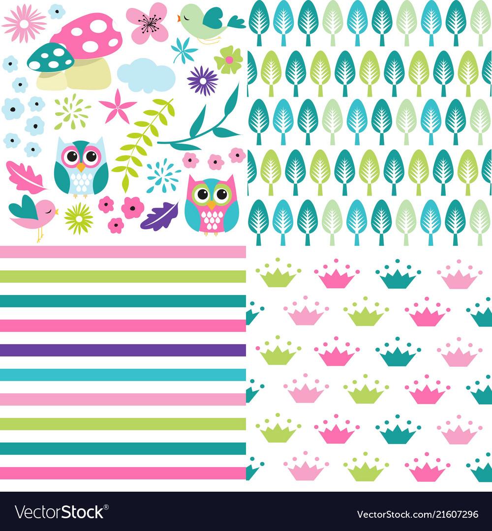 Cute baby girl patterns set