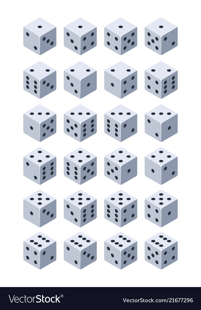 Dice for play various isometric 3d pictures of