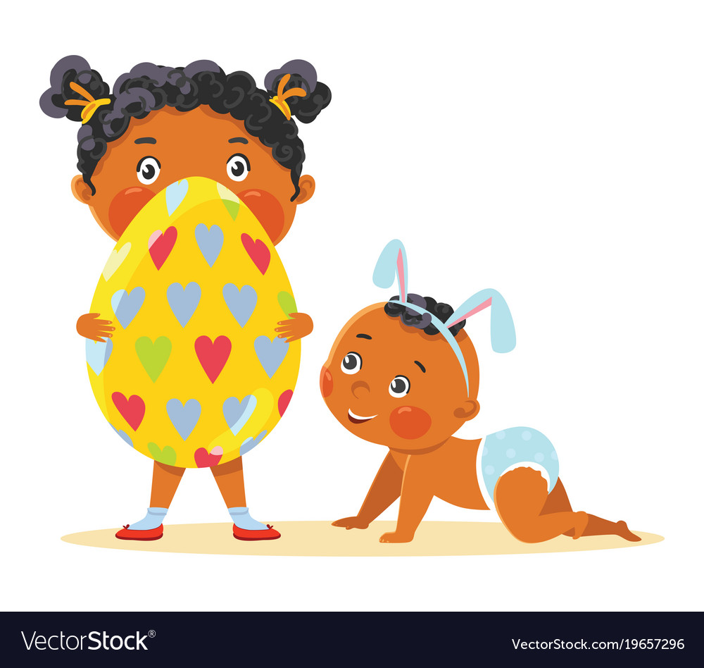 Easter kids in bunny ears with decorative egg